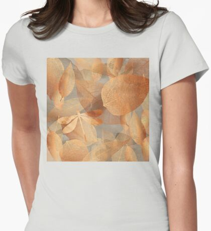 Copper Forest, leaves and dragonfly, nature and garden art Womens Fitted T-Shirt