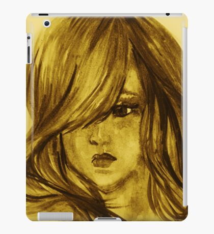 Colors of Imagination in her hair. Hand painted watercolor illustration iPad Case/Skin