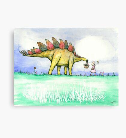 Stegosaurus Flowers Canvas Print