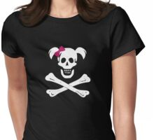 GIRL SKULL AND CROSSBONES PIRATE FEMALE JOLLY ROGER PINK BOW Womens Fitted T-Shirt