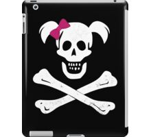 GIRL SKULL AND CROSSBONES PIRATE FEMALE JOLLY ROGER PINK BOW iPad Case/Skin