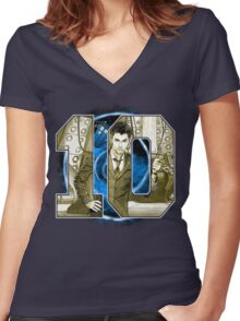 Number 10 Women's Fitted V-Neck T-Shirt