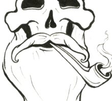Bearded Hipster Skull with Pipe Sticker