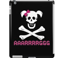 GIRL SKULL AND CROSSBONES PIRATE FEMALE JOLLY ROGER PINK BOW AAARRRGGG iPad Case/Skin