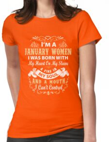 I am a January Women I was born with my heart on my sleeve Womens Fitted T-Shirt