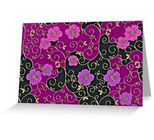 Gold Filigree, Pink and Black Floral Greeting Card