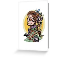 Lady in the Flowers Greeting Card