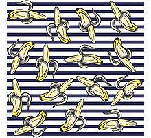 Cute Banana Illustrations on Navy Blue Stripes Photographic Print
