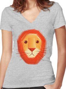 Sad lion Women's Fitted V-Neck T-Shirt