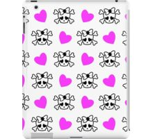 Pink girly emo skull with bow and pink hearts iPad Case/Skin