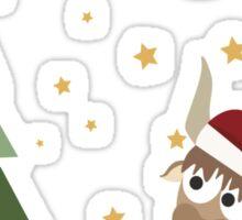 Santa Yak Christmas Scene Sticker