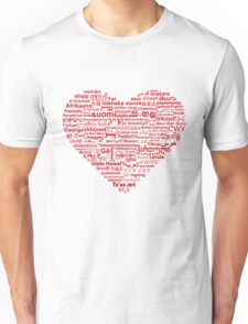 Love of Languages, Red on White Unisex T-Shirt