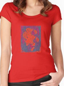 Map Composition. Red And Blue Neon Pattern Women's Fitted Scoop T-Shirt