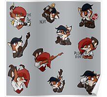 Steampunk Fox Emojis Poster