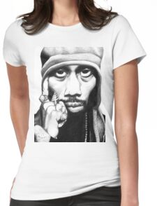 Wu Tang Clan RZA Portrait Charcoal Pencil Womens Fitted T-Shirt
