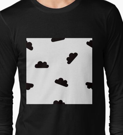 Black Clouds on White Long Sleeve T-Shirt