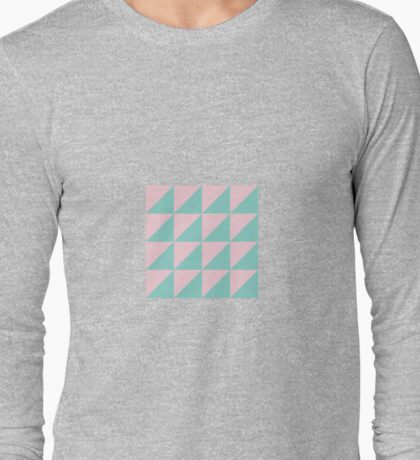 Geo Triangles in Atomic Mint + Pink Long Sleeve T-Shirt