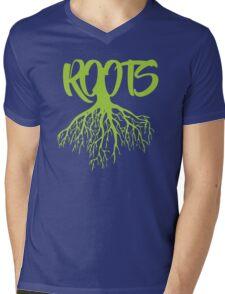 Green Roots Mens V-Neck T-Shirt