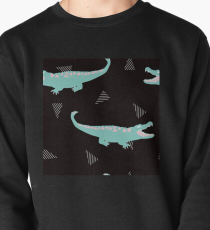 Postmodern Minty Crocodiles + Striped Triangles in Black Pullover