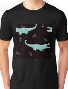 Postmodern Minty Crocodiles + Striped Triangles in Black Unisex T-Shirt