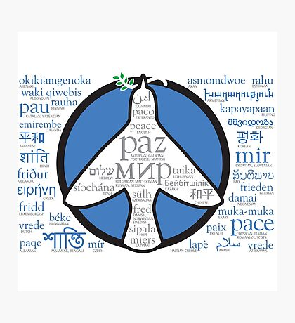 Peace in languages and symbols Photographic Print