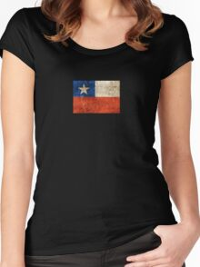 Vintage Aged and Scratched Chilean Flag Women's Fitted Scoop T-Shirt