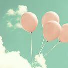 Soft Pink Balloons on Mint Sky by Caroline Mint