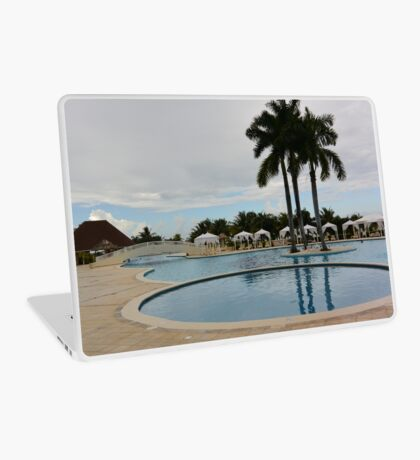 Palm trees by the pool Laptop Skin