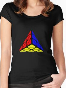 Pyraminx cude painting Women's Fitted Scoop T-Shirt