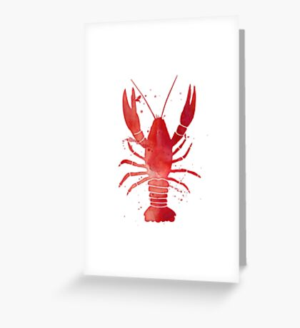 Watercolor Red Lobster Greeting Card