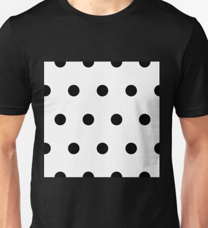 Black Polka Dots on White Unisex T-Shirt