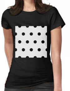 Black Polka Dots on White Womens Fitted T-Shirt