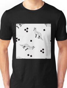 Geo Fox Toss in Black + White Unisex T-Shirt