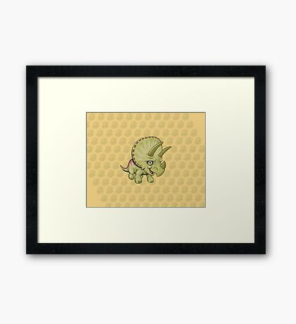 Cute Triceratops with pattern Framed Print