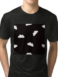 Puffy Clouds in White on Black Tri-blend T-Shirt