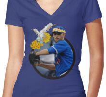 Marco Estrada: Flower Crown Women's Fitted V-Neck T-Shirt
