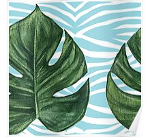 Tropical Watercolor Swiss Cheese Leaf and Zebra Poster