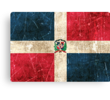 Vintage Aged and Scratched Dominican Republic Flag Canvas Print