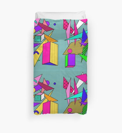 Geometric pattern in memphis 80s style Duvet Cover