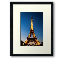 Eiffel Tower and sunset Framed Print