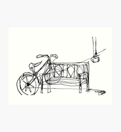 One Line Bike Art Print