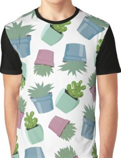 Potted Succulent Repeating Pattern Artwork Graphic T-Shirt