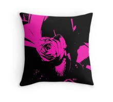 Black and Purple pop-art rose Throw Pillow