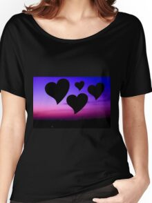 Hearts on blue sky and purple Women's Relaxed Fit T-Shirt