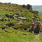 Climbers At Curbar Edge by Rod Johnson