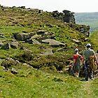 Climbers At Curbar Edge by Rod Johnson