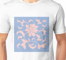 Oriental Flower - Rose Quartz and Serenity Blue Unisex T-Shirt