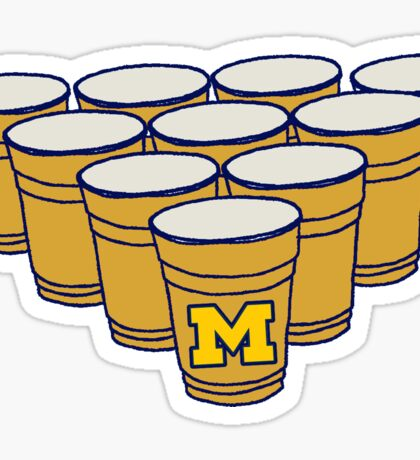 UMich Beer Pong Sticker