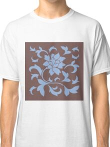 Oriental Flower - Chocolate and Serenity Blue Classic T-Shirt