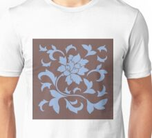 Oriental Flower - Chocolate and Serenity Blue Unisex T-Shirt